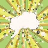 Bulle comique blanche vide pour votre texte sur le fond jaune et vert Effets sonores comiques dans le style d'art de bruit Illust illustration stock