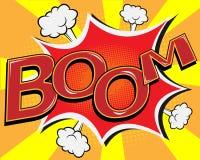 Bulle comique de la parole de BOOM, vecteur de bande dessinée d'art de bruit Photo stock