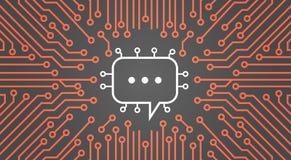 Bulle de causerie au-dessus de bannière de concept de système de données de réseau de Chip Moterboard Background Social Media d'o Photographie stock libre de droits