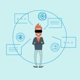 Bulle de causerie de dialogue de fond de croquis en verre de Digital de réalité virtuelle d'homme Photographie stock libre de droits