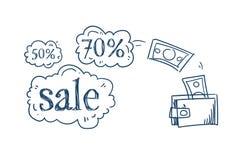 Bulle de causerie de prix discount de concept de vente d'achats de transaction d'argent de portefeuille sur le griffonnage blanc  Illustration Libre de Droits