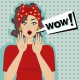 Bulle de femme et de parole de wow illustration stock