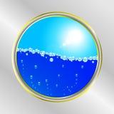 Bulle de l'eau et frontière ensoleillée de ciel Illustration Stock