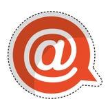Bulle de la parole avec l'icône d'isolement par symbole d'arroba Image libre de droits