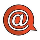 Bulle de la parole avec l'icône d'isolement par symbole d'arroba Image stock