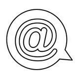 Bulle de la parole avec l'icône d'isolement par symbole d'arroba Photo libre de droits