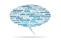 Bulle de la parole - bienvenue dans différents langages Image stock