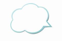 Bulle de la parole comme nuage avec la frontière bleue d'isolement sur le fond blanc Copiez l'espace Photos stock