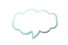 Bulle de la parole comme nuage avec la frontière bleue d'isolement sur le fond blanc Copiez l'espace Photographie stock