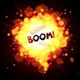 Bulle de la parole d'aérolithe de vecteur avec le signe de boom Images stock