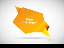 Bulle de la parole de papier orange plié Image stock