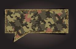 Bulle de la parole de vecteur de modèle de tissu de camouflage Photos stock