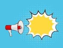 Bulle de mégaphone et de parole dans le bruit Art Style Background Vector Illustration Illustration Stock