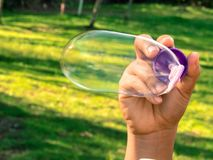 Bulle de savon en parc photo stock