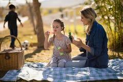 Bulle de soufflement de mère et de fille en parc Photo libre de droits