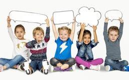 Bulle de sourire de la parole d'unité d'amitié de bonheur d'enfants Image libre de droits