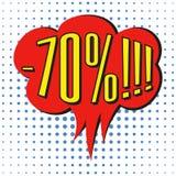 Bulle de vente de la parole avec le texte -70% Photo stock