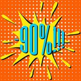 Bulle de vente de la parole avec le texte -90% Photo stock