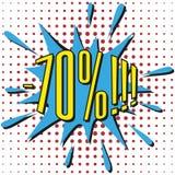 Bulle de vente de la parole avec le texte -70% Image stock