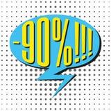 Bulle de vente de la parole avec le texte -90% Photos stock