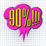 Bulle de vente de la parole avec le texte -90% Photographie stock libre de droits