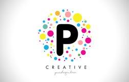 Bulle Dots Letter Logo Design de P avec les bulles colorées créatives Photo stock