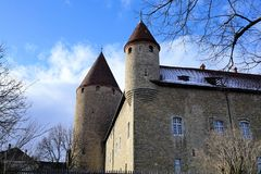 Castle in bulle in gruyere in south switzerland. Bulle is a municipality in the district of Gruyère in the canton of Fribourg in Switzerland stock photography