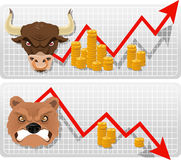 Bulle und Bär-Pfeilwirtschafts-Geschäftsdiagramm mit goldenen Münzen Stockfotos