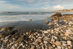 Buller Bay beach on West Coast of New Zealand. At low tide royalty free stock photo