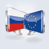 Bulles avec la Russie et l'Europe Images stock