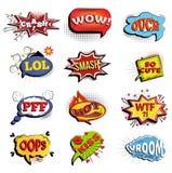 Bulles comiques de la parole Expressions onomatopéiques illustration stock