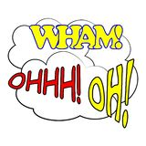 Bulles comiques de la parole réglées Icônes saines des textes d'expression de style d'art de bruit wham Ohhh Oh Vecteur illustration libre de droits