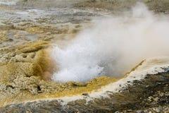 Bulles d'éclater le geyser en bassin supérieur de geyser, Na de Yellowstone photos stock