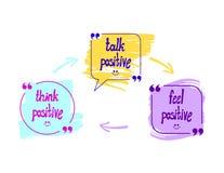 Bulles d'entretien de vecteur avec des mots : Pensez, parlez et sentez concept positif et optimiste de mode de vie, flèches tirée illustration stock