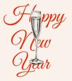 Bulles d'illustration de Champagne Glass Hand Drawing Vector Boisson alcoolisée An neuf heureux Image libre de droits