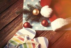 Bulles de chapeau et de Noël de Santa avec des bascules électroniques Photo libre de droits