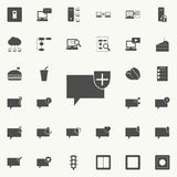 bulles de communication avec l'icône de bouclier Ensemble détaillé d'icônes minimalistic Signe de la meilleure qualité de concept Photos stock