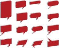 bulles de la parole 3D et de pensée en rouge Images libres de droits