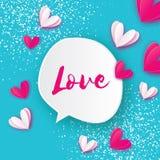 Bulles de la parole avec le texte de coeurs et d'amour style de coupe de papier Carte de voeux heureuse de jour du ` s de Valenti illustration libre de droits