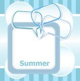Bulles de la parole d'heure et d'abrégé sur d'été d'affiche bonjour réglées Images stock