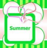 Bulles de la parole d'heure et d'abrégé sur d'été d'affiche bonjour réglées Photo libre de droits