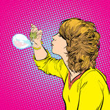 Bulles de savon de soufflement de jeune fille illustration de vecteur
