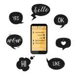 Bulles de téléphone portable et de parole Illustration de vecteur Smartphone avec les boîtes jaunes de causerie Communication soc Photos libres de droits