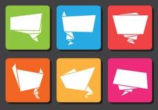 Bulles plates de la parole d'origami de conception Photos libres de droits