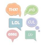 Bulles simples de la parole d'abréviations LOL et THX Photographie stock libre de droits