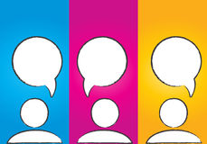 Bulles sociales colorées abstraites de dialogue de medias Images stock