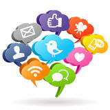 Bulles sociales de la parole de media Image stock