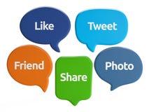 Bulles sociales de la parole de media (comme, bip, ami, part, photo) Images libres de droits