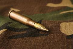 Bullet. Placed on camouflage fabric Stock Images