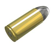 Bullet (3D) v2. Bullet 9mm in bras and plumb (3D MADE Stock Image